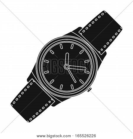 Classic wrist watch icon in black design isolated on white background. Hipster style symbol stock vector illustration.