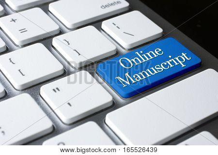 Online Manuscript word on blue enter keyboard.