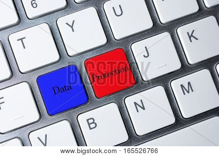 Data Protection button on white computer keyboard