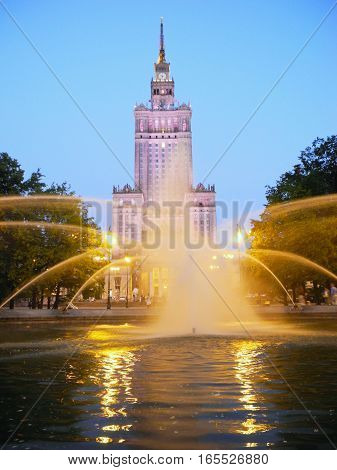 Fountain near the Palace of Culture and Science in Warsaw Poland.