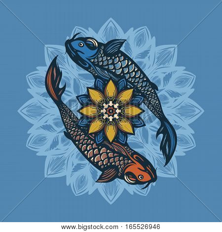 Two Chinese koi carp and lotus flowers. Symbol of harmony and love. Background in the Chinese style. Hand drawn. Vector illustration.