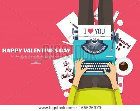Flat Background With Typewriter. Love, Hearts. Valentines Day. Be My Valentine. 14 February.vector I