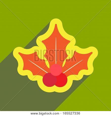 flat icon with long shadow Christmas mistletoe