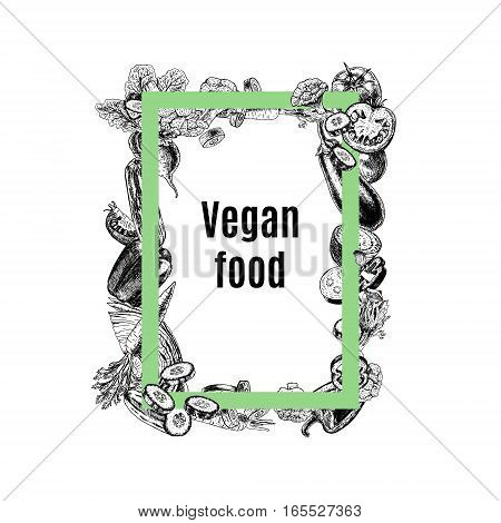 Vector rectangular frame of vegetables. Black and white sketch. Vegan food. Design for background. Carrot pepper broccoli eggplant cucumber cabbage beets tomato cauliflower. Vector illustration.