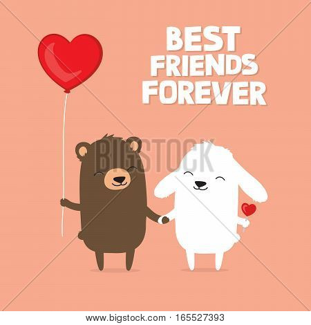 Valentine's Day card with cute cartoon bear and bunny rabbit holding hands