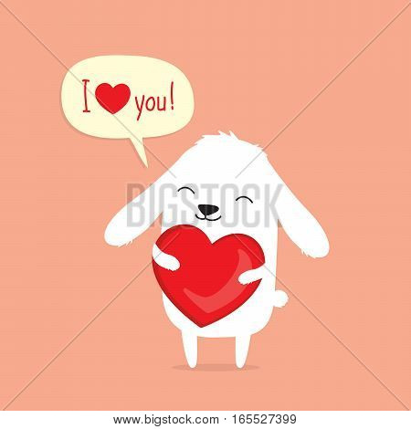 Valentine's Day card with cute cartoon bunny rabbit holding heart and saying I love you in speech bubble