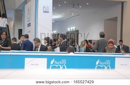 ANTALYA/TURKEY-NOVEMBER 14: G20 Antalya Summit accredited press members at International Media Center (IMC) in Kaya Palazzo Hotel, November 14, 2015 in Antalya, Turkey