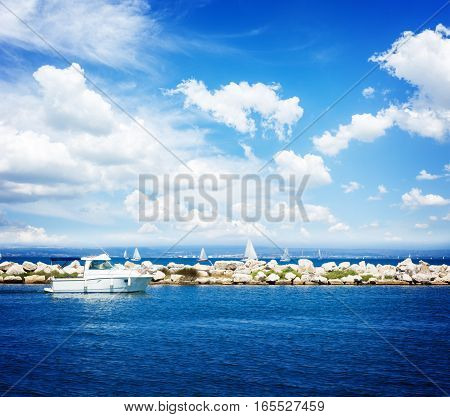 seascape with clear calm mediterranean sea waters with yachts, Martigues, Provence, Cote dAzur, France, retro toned