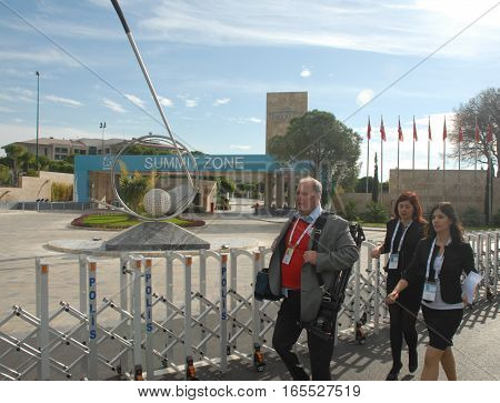 ANTALYA/TURKEY-NOVEMBER 14: G20 Antalya Summit accredited press members at Regnum Carya Hotel Summit Zone, November 14, 2015 in Antalya, Turkey
