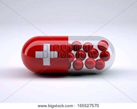 Pill With Swiss Flag Wrapped Around It And Red Ball Inside