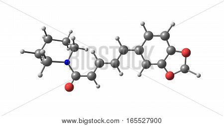 Piperine along with its isomer chavicine is the alkaloid esponsible for the pungency of black pepper and long pepper. It has also been used in some forms of traditional medicine and as an insecticide. 3d illustration