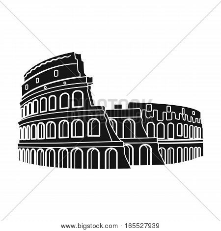 Colosseum in Italy icon in black design isolated on white background. Countries symbol vector illustration.