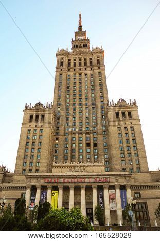 Warsaw Poland - June 28 2016: The building of the Palace of Culture and Science.