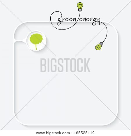 A white text box with tree and the words green energy