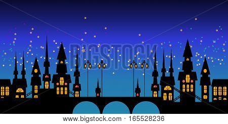 Cute cartoon night cityscape border of Prague