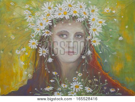 Portrait of a girl in a wreath made with oil on the background of daisies in summer style Impressionism