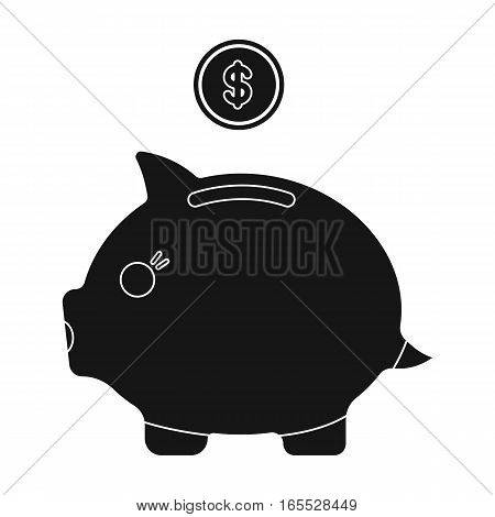 Donation piggybank icon in black design isolated on white background. Charity and donation symbol stock vector illustration.