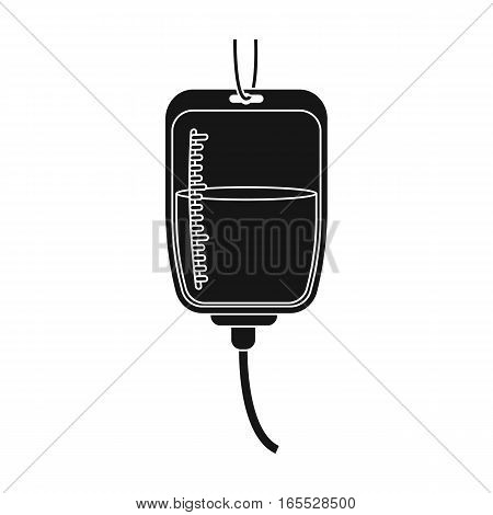 Blood donation icon in black design isolated on white background. Charity and donation symbol stock vector illustration.