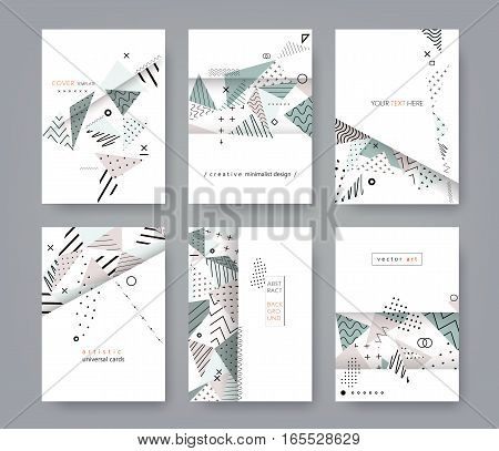 Set of artistic universal cards. Flat creative minimalist design. Geometric background. Template for posters, brochures, flyers, placards, book covers, presentations. Isolated. A4 size. Vector EPS10