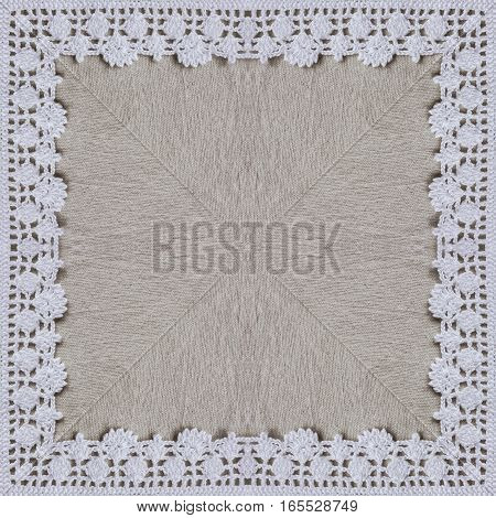 White organic cotton crochet lace background, backdrop for scrapbook, Christmas, yuletide, top view. Collage with mirror reflection. Kaleidoscope montage for cushion, pillow, tablecloth cloth