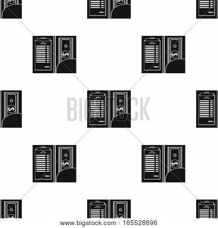 Restaurant receipt with cash icon in black style isolated on white background. Restaurant pattern vector illustration.