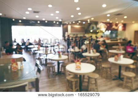 Blur background of chinese restaurant in vintage toned