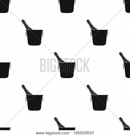 Bottle of champagne in an ice bucket icon in black style isolated on white background. Restaurant pattern vector illustration.