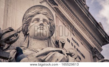 Female statue in Rossio Square in Lisbon Portugal