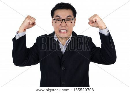 Angry Asian Chinese Man Wearing Suit And Holding Both Fist