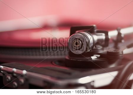 Turntable Tone Arm And Weight In Focus