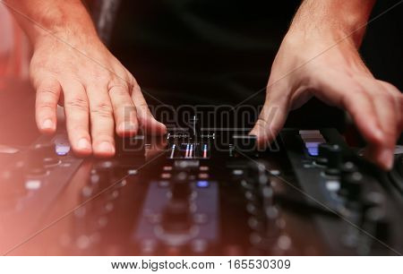 Hip Hop Play Music On Professional Sound Mixer