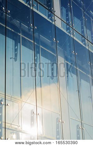 Glass curtain walls. Spider facade fixing system. Elements of fastening of the facade. Facade detail