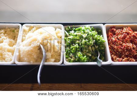 Many of Suki yaki sauce in buffet restaurant