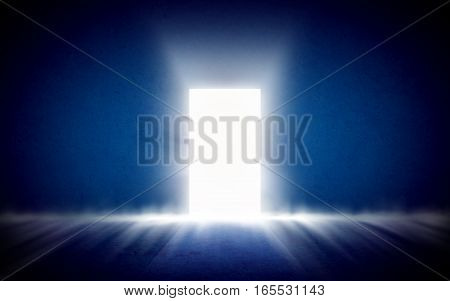 Glowing exit from dark room. Abstract room with open door. Background template mock up