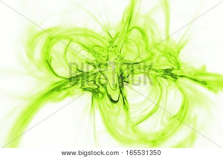 Abstract Green Smoky Shapes On White Background. Fantasy Fractal Texture. 3D Rendering.