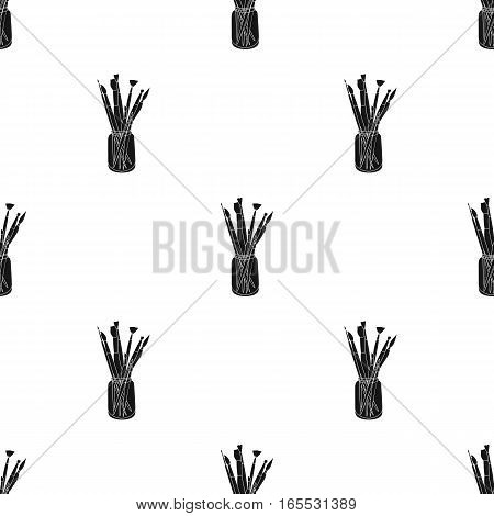 Colored pencils for drawing in box icon in Black style isolated on white background. Artist and drawing pattern vector illustration.