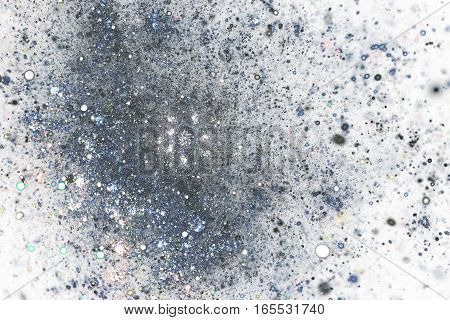 Abstract Silver Dust On White Background. Fractal Art. 3D Rendering.