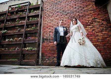 Beautiful Wedding Couple Stay Background Brick Wall.