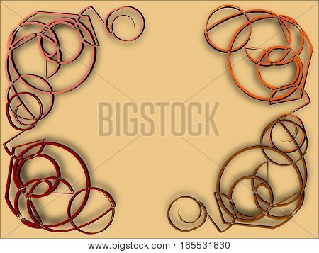 abstract frame in a row on the perimeter on beige lined composition of colored bulk yarns with lines and circles and flowers