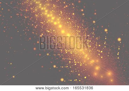 Abstract Fiery Golden Sparkles On Grey Background. Fantasy Fractal Art. 3D Rendering.