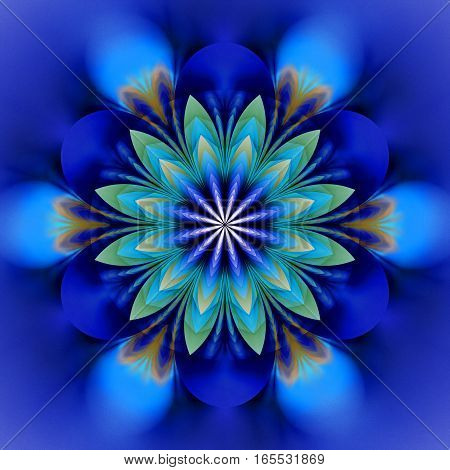 Abstract Exotic Flower. Psychedelic Mandala Design In Royal Blue, Black And Green Colors. Fantasy Fr