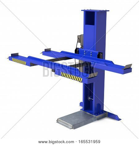 Single Post Car Lift on white background. 3D illustration