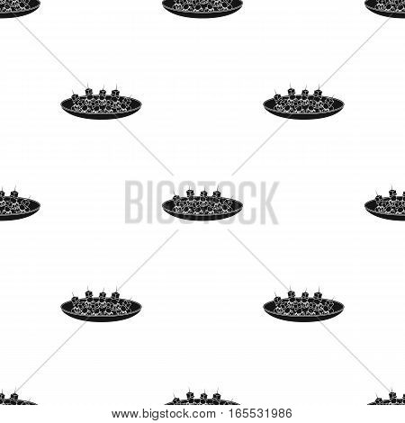 Canape on the plate icon in black style isolated on white background. Event service pattern vector illustration.