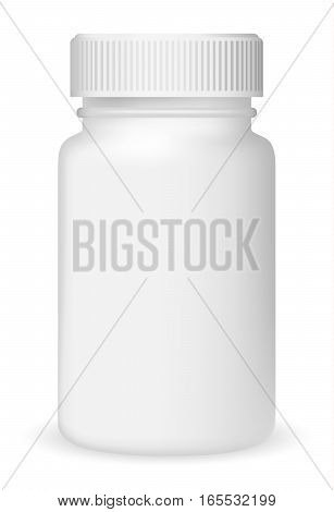 White medical container on white background realistic vector illustration