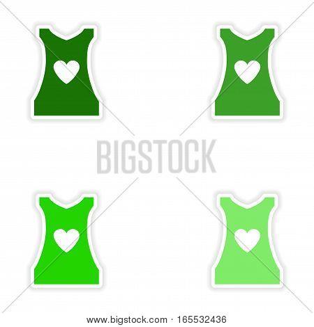 concept stylish paper sticker on white background women's T-shirt