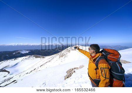 Selfies in the campaign in the high mountains in the winter.
