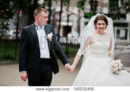 Newlyweds Holding Hand At Their Wedding Day.