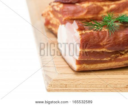 Smoked Pork With Spices On A Wooden Board Isolated On White Background.