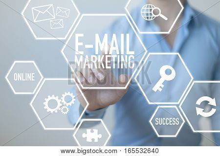 E-mail marketing business concept with businessman and digital display