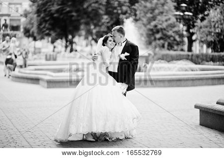 Wedding Couple Background Fountain In Love At Their Happy Day. Black And White Photo